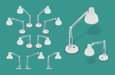 lampada: Serie di lampade da scrivania isometrici. Gli oggetti sono isolati contro lo sfondo verde e mostrati da diverse parti
