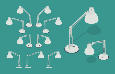 lamp power: Set of the isometric desk lamps. The objects are isolated against the green background and shown from different sides