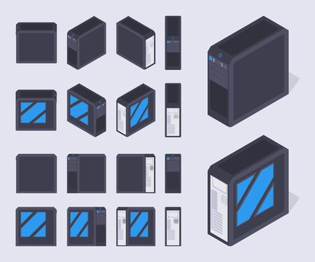cooler boxes: Set of the isometric black PC cases. The objects are isolated against the pale-violet background and shown from different sides Illustration