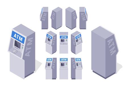 automatic transaction machine: Conjunto de los cajeros autom�ticos isom�tricos. Los objetos est�n aislados contra el fondo blanco y se muestran desde diferentes lados