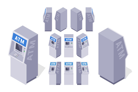 Set of the isometric ATMs. The objects are isolated against the white background and shown from different sides