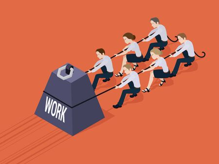 achievement concept: Group of office workers pushing the giant weight with the Work inscription. Conceptual illustration suitable for advertising and promotion