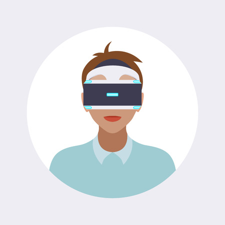 man headset: Man in the virtual reality headset. Round icon. Flat design