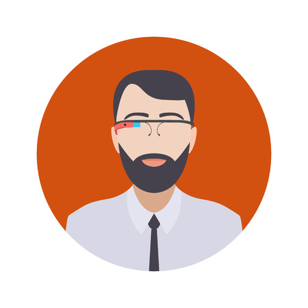 ar: Man in the augmented reality glasses. Round icon. Flat design Illustration