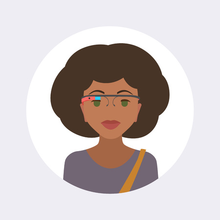 girl wearing glasses: Women in the virtual reality headset. Round icon. Flat design