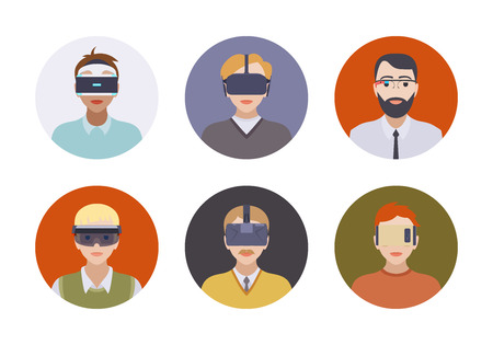 Men in the virtual reality headsets. Round icons. Flat design