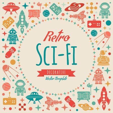 copy machine: Retro Sci-Fi vector decorating design. Colorful card template with copy space
