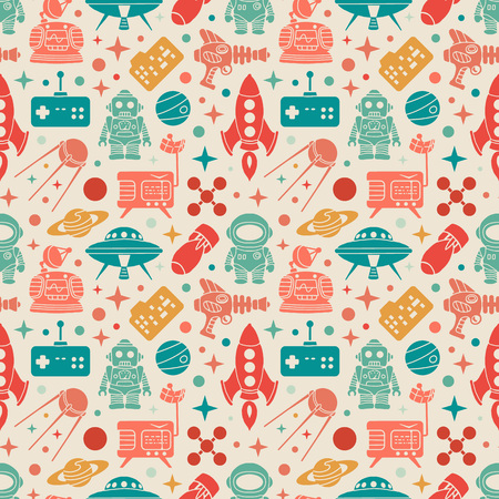 Sci-fi retro pattern. Colorful objects against the light-beige background. The layout is fully editable