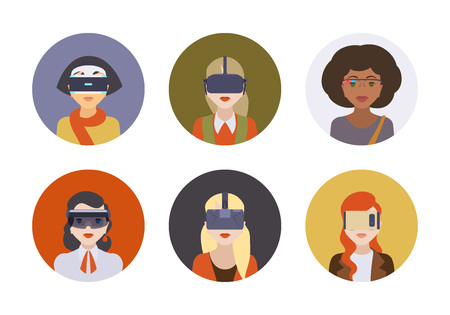girl wearing glasses: Women in the virtual reality headsets. Round icons. Flat design Illustration