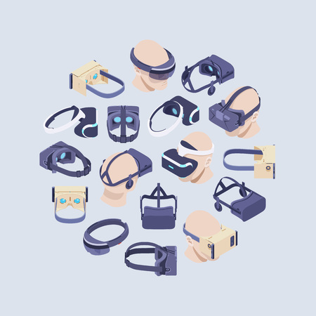 cyberpunk: Round vector decorating design made of isometric virtual reality headsets. Conceptual illustration suitable for advertising and promotion