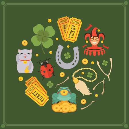 lucky charm: Round vector decorating design made of Lucky Charms. Colorful card template