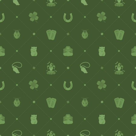 charms: Seamless pattern with Lucky Charms against the green background. The layout is fully editable