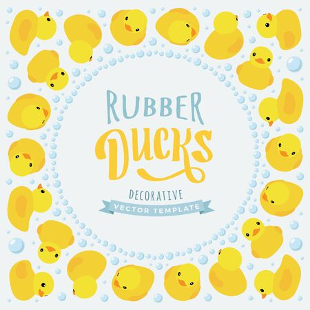 rubber ducks: Vector decorating design made of yellow rubber ducks. Colorful card template with copy space