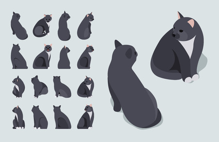 Set of the isometric black sitting cats. The objects are isolated against the pale-blue background and shown from different sides Ilustrace