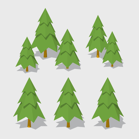 Cube World. 3D lowpoly isometric spruce. The set of objects isolated against the gray background and shown from different sides