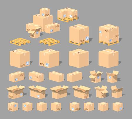 Mundo Cubico. cajas de cartón isométrica en 3D lowpoly. El conjunto de objetos aislados sobre el fondo gris y muestra desde diferentes lados Ilustración de vector
