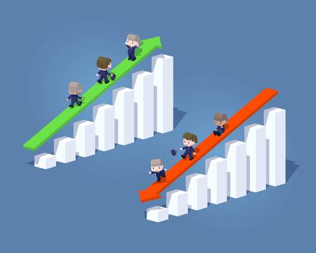 negative: Cube World. Business positive and negative graphs and arrows. Concept illustration suitable for advertising and promotion Illustration