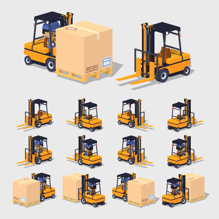 Cube World. 3D lowpoly isometric forklift. The set of objects isolated against the gray background and shown from different sides