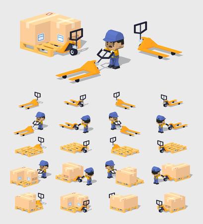Mundo Cubico. 3D isométrica lowpoly transpaleta manual. El conjunto de objetos aislados sobre el fondo gris y muestra desde diferentes lados