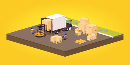 unloading: Cube World. Loading or unloading of the cardboard boxes. White truck and forklift. Concept illustration suitable for advertising and promotion