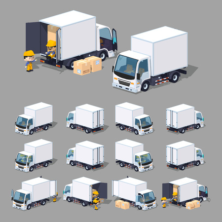 Cube World. 3D lowpoly isometric white truck. The set of objects isolated against the gray background and shown from different sides Vectores