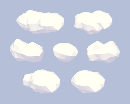 Cube World. 3D lowpoly isometric clouds. The set of objects isolated against the pale-blue background and shown from different sides
