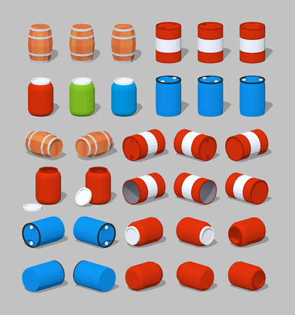 barrels set: Cube World. 3D lowpoly isometric barrels. The set of objects isolated against the gray background and shown from different sides Illustration