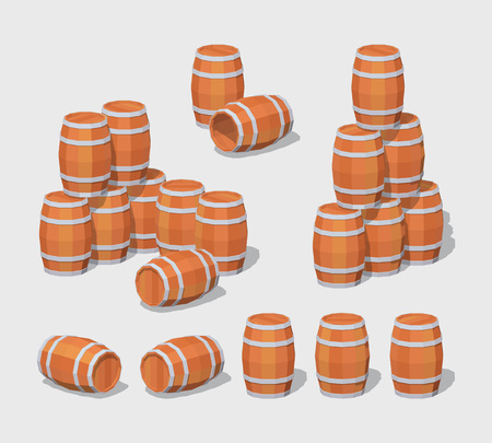 barrel: Cube World. 3D lowpoly isometric wooden barrels. The set of objects isolated against the gray background and shown from different sides