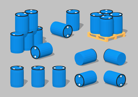 barril de petr�leo: Mundo Cubico. 3D isom�trico lowpoly barriles de pl�stico azul. El conjunto de objetos aislados sobre el fondo gris y muestra desde diferentes lados Vectores