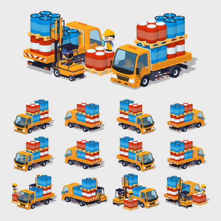 barrels set: Cube World. 3D lowpoly isometric orange truck loaded with barrels. The set of objects isolated against the gray background and shown from different sides