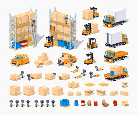 Warehouse. 3D low poly isometric illustration. The set of objects isolated against the white background and shown from different sides