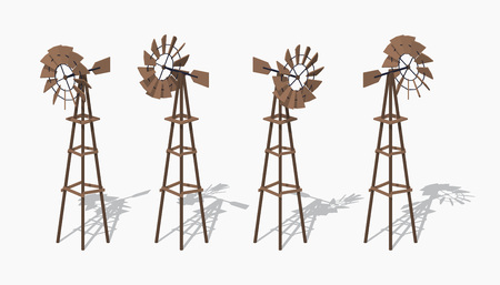 wind mill toy: Old wind turbine. 3D low poly isometric illustration. The set of objects isolated against the white background and shown from different sides