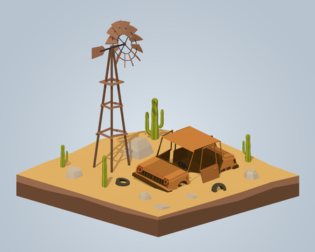 rusting: Old rusty car in the desert. 3D low-poly isometric concept illustration suitable for advertising and promotion Illustration