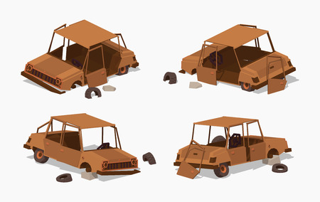 scrap: Old rusty car. 3D low poly isometric illustration. The set of objects isolated against the white background and shown from different sides