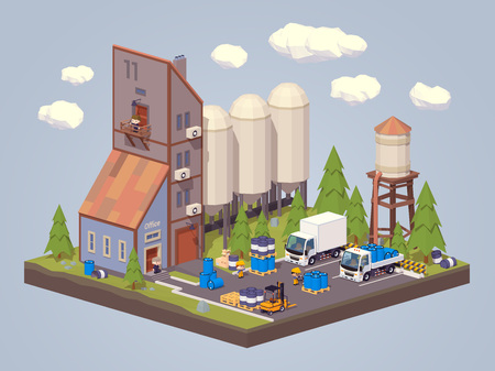chemical industry: Silo plant. Storage of liquids. 3D low poly isometric concept illustration suitable for advertising and promotion Illustration