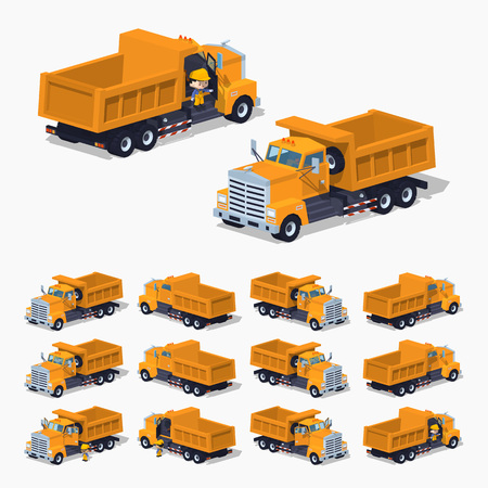 dumper: Empty orange dumper. 3D low poly isometric illustration. The set of objects isolated against the white background and shown from different sides