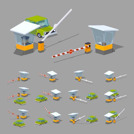 Barrière, stand et voiture verte. 3D low poly illustration isométrique. L'ensemble des objets isolés sur le fond gris et montré de différents côtés Vecteurs