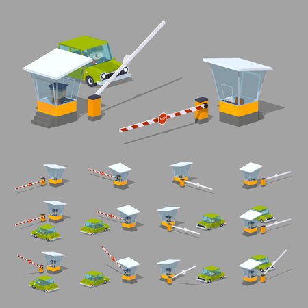 parking sign: Barrier, booth and green car. 3D low poly isometric illustration. The set of objects isolated against the grey background and shown from different sides