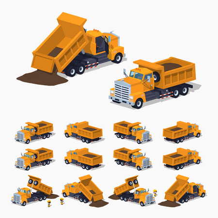 Loaded orange dumper. 3D low-poly isometric illustration. The set of objects isolated against the white background and shown from different sides