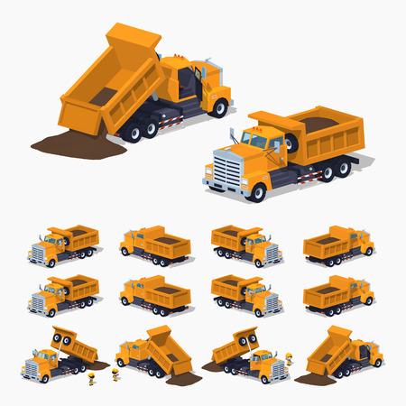 Dumper cargado naranja. 3D ilustración isométrica de baja poli. El conjunto de objetos aislados sobre el fondo blanco y muestra desde diferentes lados