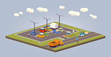 car road: Suburban parking lot. 3D low-poly isometric concept illustration suitable for advertising and promotion