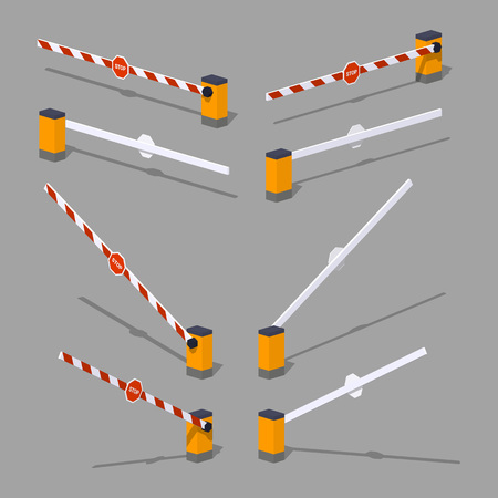 roadblock: Automatic barrier with stop sign. 3D low-poly isometric illustration. The set of objects isolated against the grey background and shown from different sides Illustration