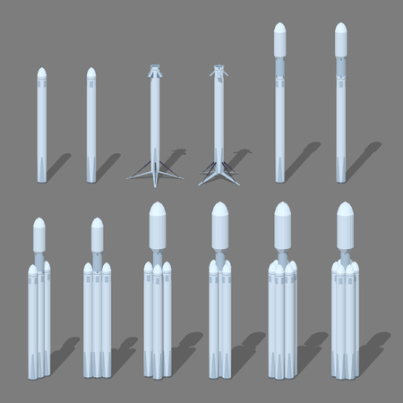 science icons: Modern space rocket. 3D low poly isometric illustration. The set of objects isolated against the grey background and shown from different sides Illustration