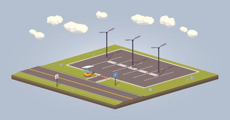 estacionamiento vacío. 3D bajo poli concepto isométrico ilustración adecuada para la publicidad y promoción