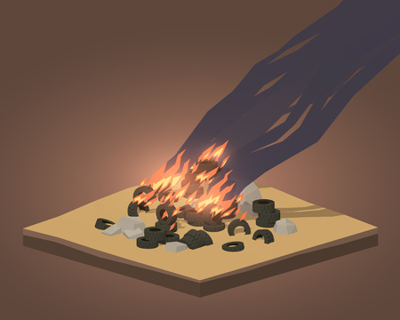 Pile of burning tires. 3D low poly isometric concept illustration suitable for advertising and promotion