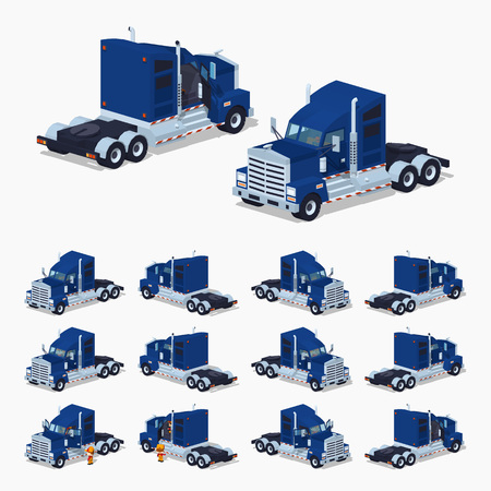 heavy set: Heavy American truck. 3D low poly isometric illustration. The set of objects isolated against the white background and shown from different sides