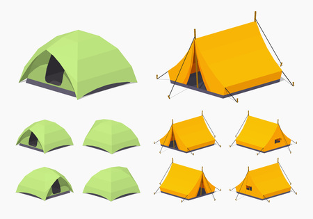 Camping tents. 3D low poly isometric illustration. The set of objects isolated against the white background and shown from different sides