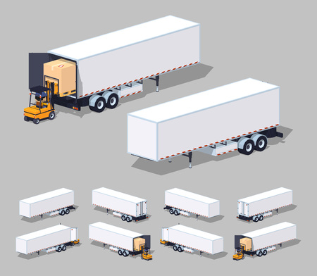 Large white cargo trailer. Loading or unloading.. 3D low poly isometric illustration. The set of objects isolated against the grey background and shown from different sides Vectores