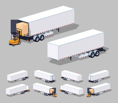 Ampliación de remolque de carga blanco. Carga o descarga .. 3D de bajo poli ilustración isométrica. El conjunto de objetos aislados sobre el fondo gris y muestra desde diferentes lados