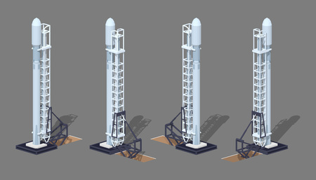 x games: Modern space rocket on the launch pad. 3D low poly isometric illustration. The set of objects isolated against the grey background and shown from different sides